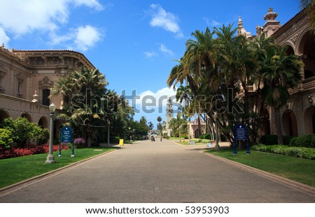 View down the central El Prado street in Balboa Park in San Diego - stock photo
