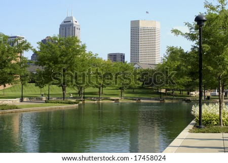 View downtown Indianapolis from looking south from the Canal and White River State Park - stock photo