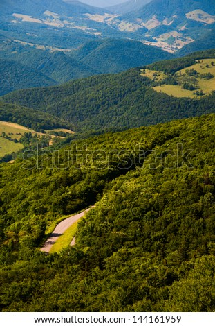 View east of mountains and valleys from Spruce Knob, West Virginia - stock photo