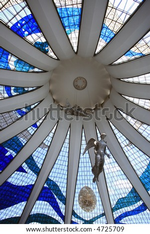 view f the roof from inside cathedral of brasilia city capital of brazil - stock photo