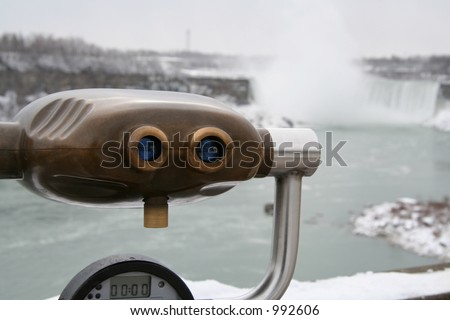 View Finder at the Falls - stock photo