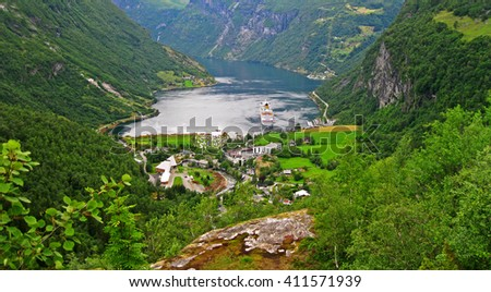 View for Geiranger fjord, Beautiful Nature Norway. - stock photo