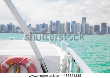 View for inside recreational boat with Miami skyline in the distance