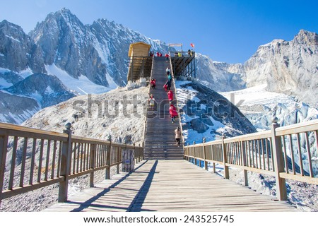 view form top of Jade Dragon Snow Mountain - stock photo