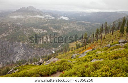 View form Washburn Point on a rainy day in Yosemite National Park, California. - stock photo