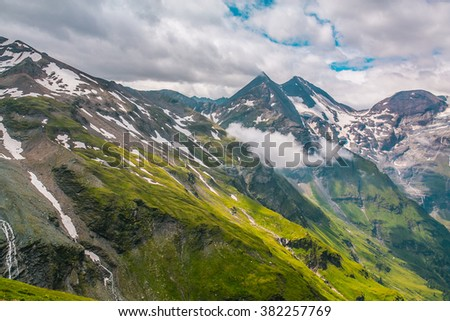 View from a bird's eye of Grossglockner High Alpine Road. Austria, Alps, Europe - stock photo
