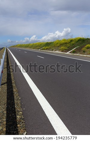 View from a Bulgarian highway in spring - stock photo