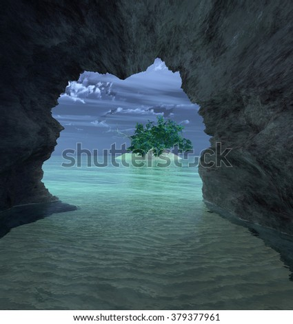 view from a cave by the sea