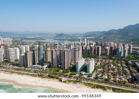 View from a helicopter of Rio De Janeiro's Barra Da Tijuca beachfront - stock photo