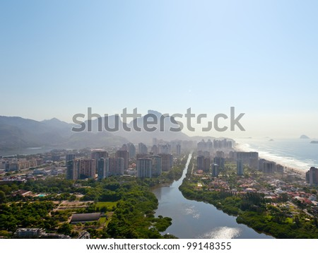 View from a helicopter of Rio De Janeiro's Barra Da Tijuca neighborhoods - stock photo