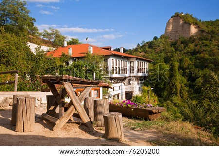 View from a hill in the historic town of Melnik, Bulgaria. - stock photo