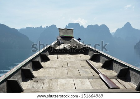 View from a Long Tail Boat - stock photo