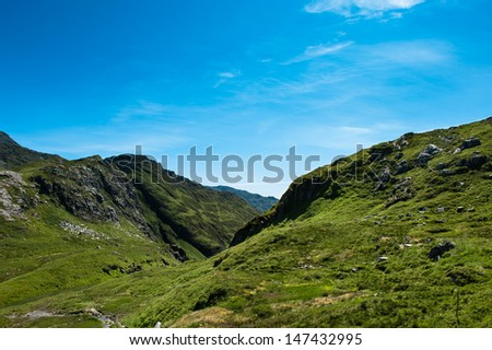 View from a mountain in Bergen Norway - stock photo