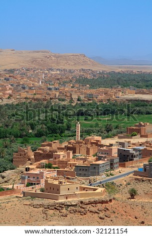 view from a mountain on Moroccan suburbs