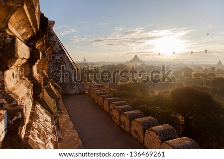 View from a pagoda in Bagan, Myanmar - stock photo