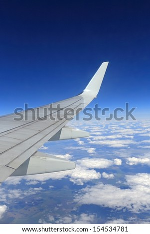 View from a plane window - stock photo