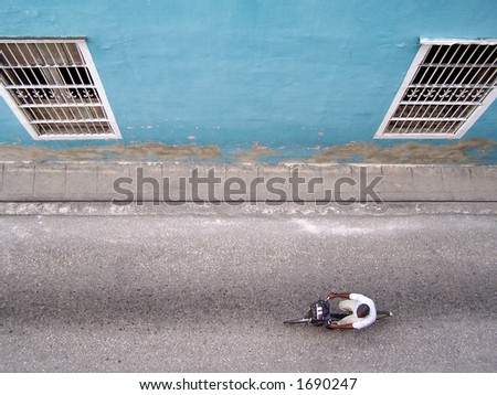 View from a roof on a colonial street of Trinidad (Cuba) - stock photo