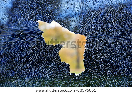 View from a smashed car window - stock photo