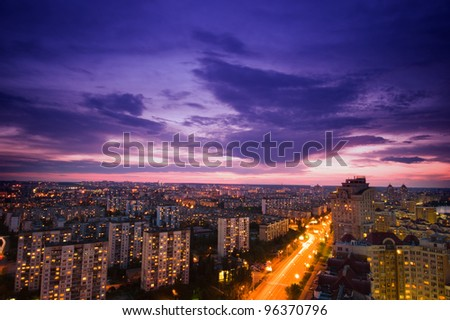 view from a tall building, city  Kiev, district