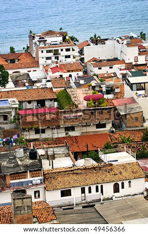 View from above at rooftops in old Puerto Vallarta, Mexico - stock photo