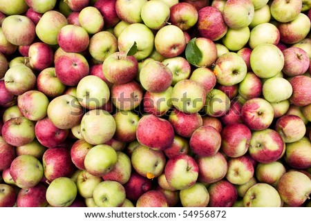 View from above of an apple bin - stock photo