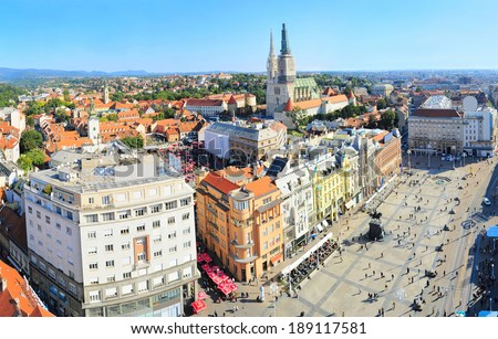View from above of Ban Jelacic Square in Zagreb , Croatia - stock photo