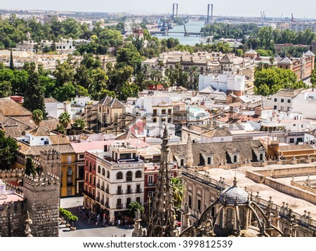 View from above of Sevilla in Andalucia, Spain