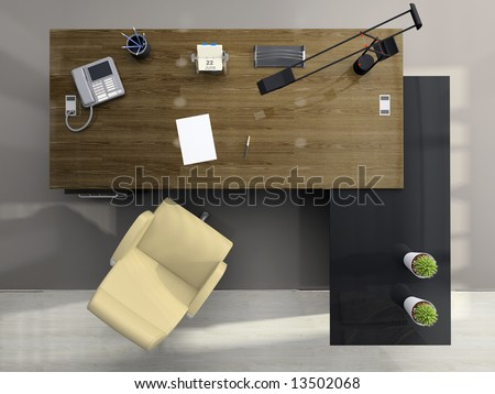 View from above of the modern office 3D - stock photo