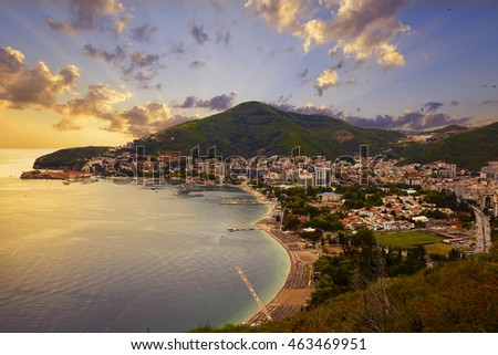 view from above of the resort town of Budva on the Adriatic coast, Montenegro