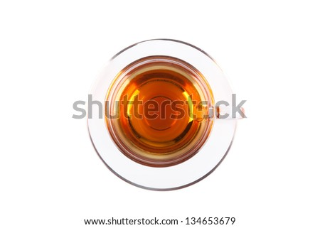 View from above on glass cup of tea isolated on white backgrond - stock photo
