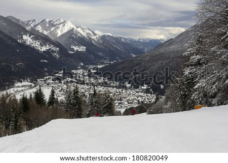 View from above on the Kranjska Gora and Alps in Slovenia from the ski sloop. - stock photo