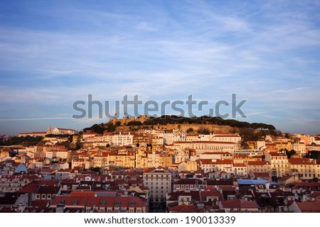 View from above over beautiful city of Lisbon at sunset in Portugal. - stock photo
