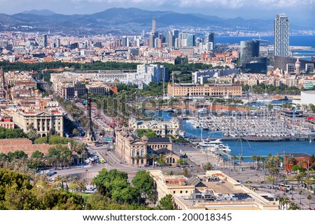 View from above over the city of Barcelona in Catalonia, Spain. - stock photo