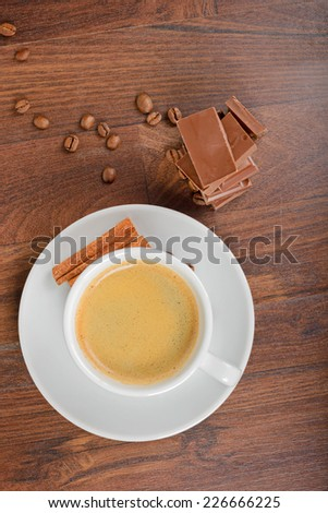 View from above to coffee and chocolate - stock photo