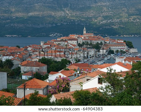 View from above to the ancient Korcula town in Croatia - stock photo