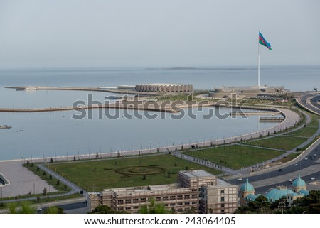 View from above to the highland Park to the Baky seafront - stock photo