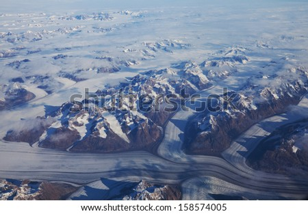 View from aircraft - stock photo