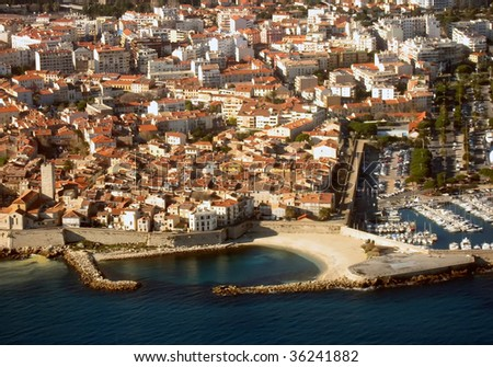 View from airplane of Antibes, village along the Cote d'Azur, France. - stock photo