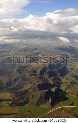 View from Airplane of countryside near Bogota, Colombia