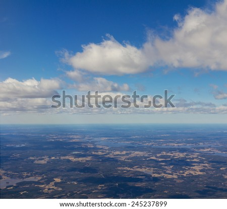 View from airplane on earth - stock photo
