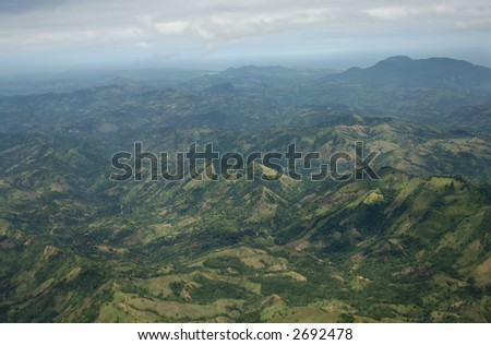 view from  airplane  -  Puerto Plata - Caribbean - - stock photo