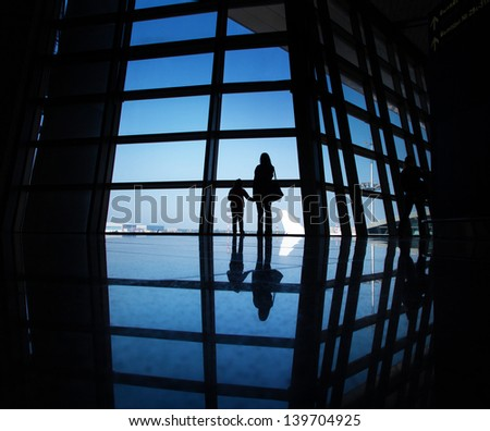View from airport's hall - stock photo