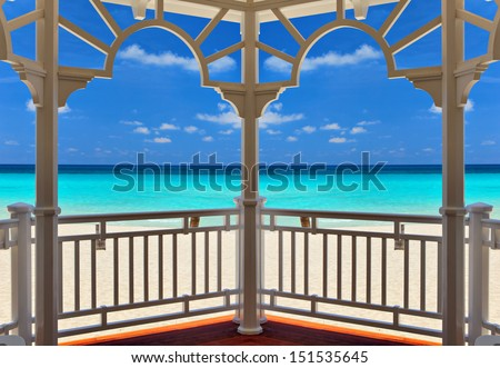 view from an arbor to the Atlantic Ocean, Varadero, Cuba - stock photo