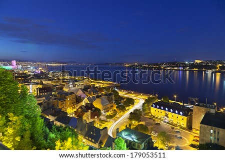 View from an observation point to Quebec City old town And St. Lawrence River, Canada at night  - stock photo