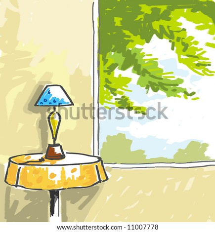 View from an open window - stock photo