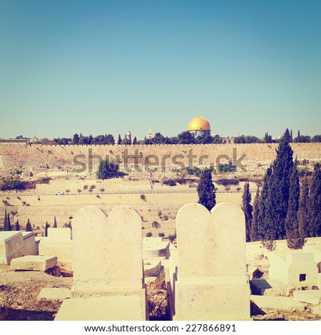 View from Ancient Jewish Cemetery  to Walls of the Old City of Jerusalem, Instagram Effect - stock photo