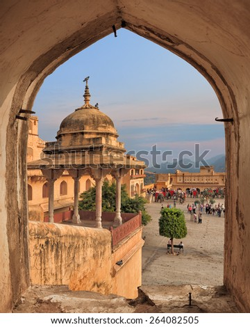View from ancient window of Amber Fort, Jaipur, Rajasthan, India - stock photo