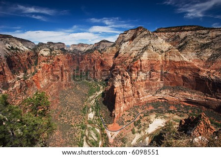 View from Angel's Landing, Zion National Park - stock photo