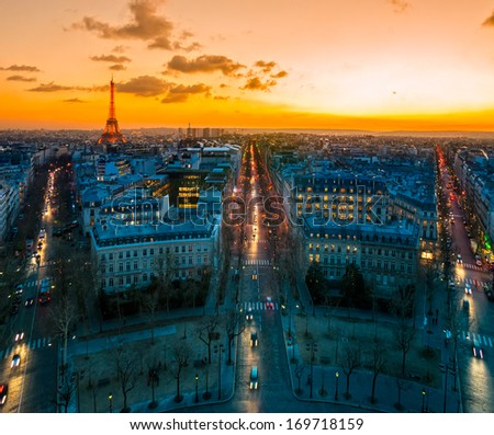 View from Arc de triomphe, Paris. - stock photo