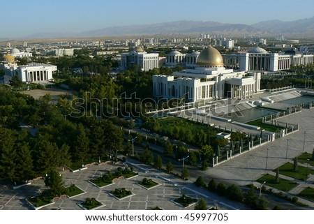 view from arch of neutrality Ashgabat Turkmenistan - stock photo